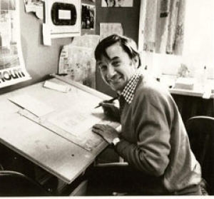 Ben Wicks, a much-loved cartoonist who was also a TV host, broadcaster and humanitarian, is shown working in his home. (Courtesy of the Wicks family)