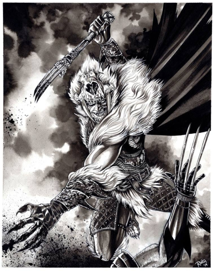 """Sabretooth the Barbarian"" by Mike Rooth."