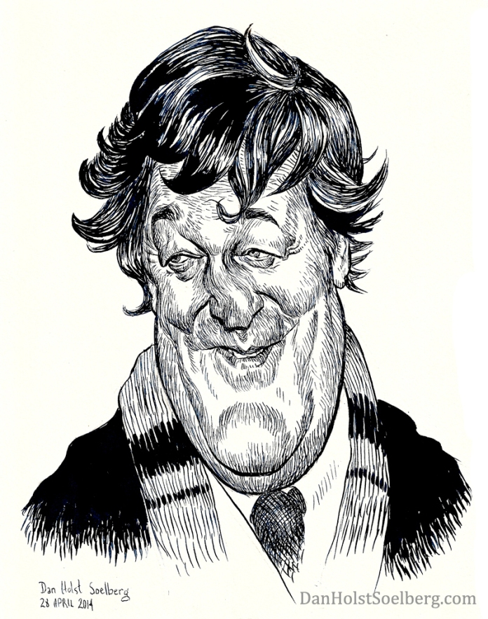 Dan Holst Soelberg's caricature drawing of Stephen Fry