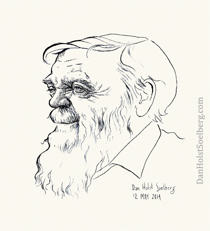 Farley Mowat caricature by Dan Holst Soelberg