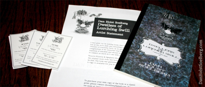 I'm ready with supplies for my show, which starts today. Pictured from left to right are the artwork tags, my artist statement, and a sample of the published book. The book will be available at the bar for restaurant patrons to read.