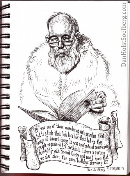 Dan Holst Soelberg's drawing of Edward Gorey