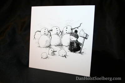 Headless snowmen Christmas card by Dan Holst Soelberg