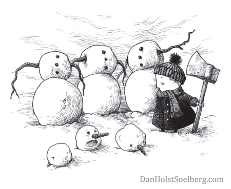 Headless snowmen greeting card by Dan Holst Soelberg