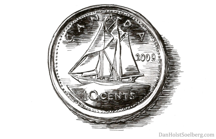 Dime drawing by Dan Holst Soelberg