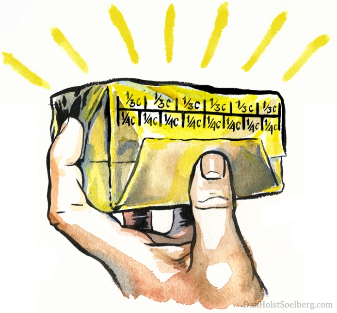 The perfect butter package - drawing by Dan Holst Soelberg