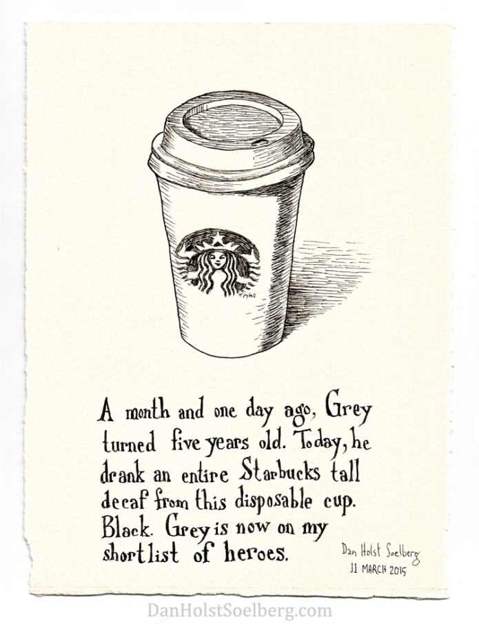 Grey's first coffee drawing by Dan Holst Soelberg