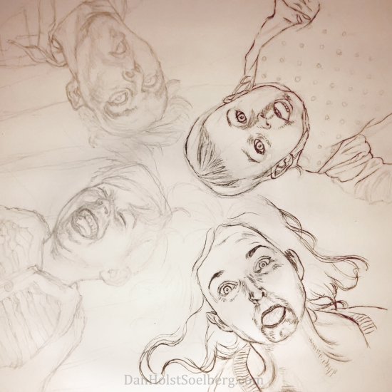 2015 Soelberg Family Portrait progress drawing pencil ink