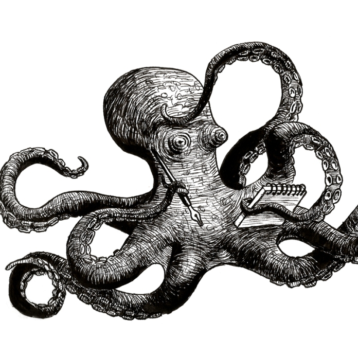 Illustration from a birthday greeting card. See the birthday card here: http://danholstsoelberg.storenvy.com/products/18058103-birthday-card-octopus-bard