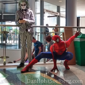 Beetle Juice and Spiderman. Side by side, naturally.