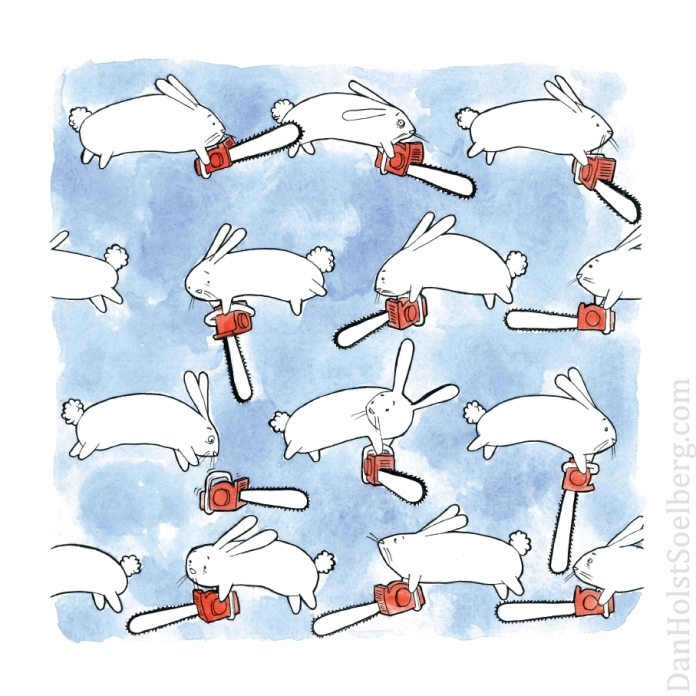Bunnies + Chainsaws print - Dan Holst Soelberg
